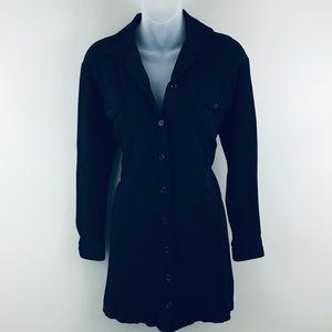 Andrea Jovine Black Button-Up Stretch Jacket Tunic